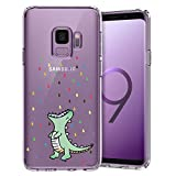 Unov Galaxy S9 Case Clear with Design Soft TPU Shock Absorption Slim Embossed Pattern Protective Back Cover for Galaxy S9 (Rainbow Dinosaur)