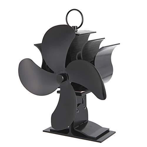CAMPSLE Ventilador de estufa de 4 aspas, ventilador de calor Ventilador de estufa autoamplificado para quemadores de leña o chimenea Diseño silencioso, circula aire caliente calentado, 10 CFM (B)