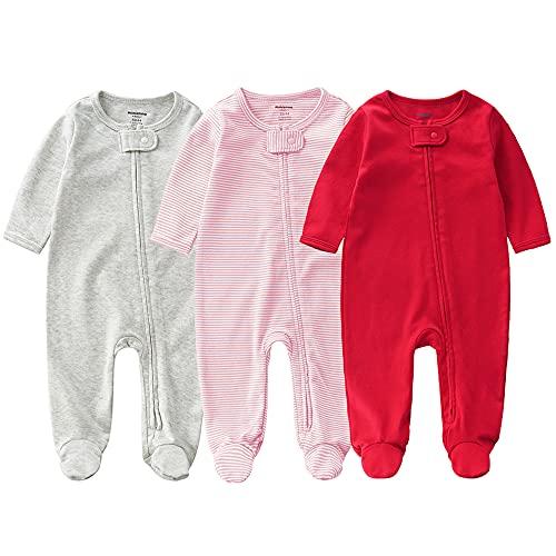 Bebé Pelele de Algodón 3 Piezas Pijama Mameluco Manga Larga Niños Niñas Monos con Footies Ropa de Dormir Conjunto de Trajes 6-12 Meses