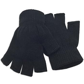 Winter Fingerless Gloves Half Finger Knitted - Standard Size - Black