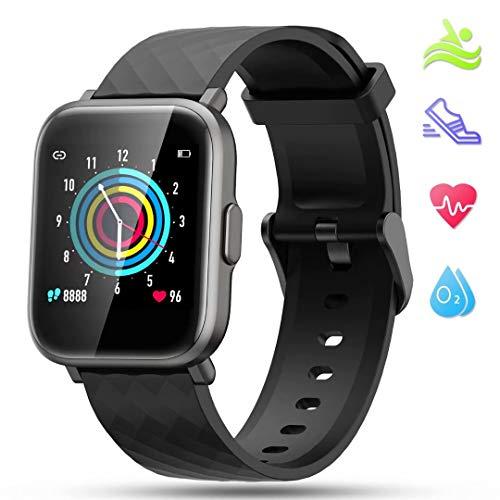LIDOFIGO Smartwatch Fitnessuhr Touchscreen Fitness Armband Pulsuhr IP68 Wasserdicht Sportuhr Fitness Tracker mit Stoppuhr Schlafmonitor Kompass Schrittzähler Uhr Damen Smartwatch Herren Android iOS