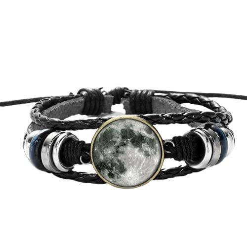 Luminoso gris luna cristal pulseras y brazaletes brillan en la oscuridad planeta cristal cabujón casual cuero pareja pulsera regalo