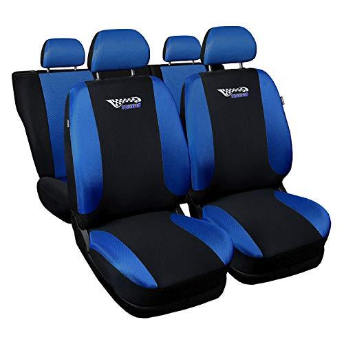 3er Set Saferide Autositzbezüge PKW universal | Auto Sitzbezüge Polyester Blau für Airbag geeignet | für Vordersitze und Rückbank | 1+1 Autositze vorne und 1 Sitzbank hinten teilbar 2 Reißverschlüsse