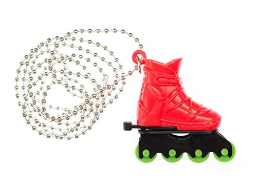 Miniblings Rollerskates Rollschuhe Inlineskates Kette Halskette Skates 80cm rot - Handmade Modeschmuck - Kugelkette versilbert