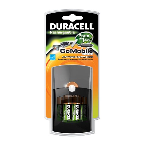 Duracell Go Mobile Charger/Rechargeable/Includes Car Adaptor & 2 AA/ 2 AAA Precharged, Rechargeable Batteries