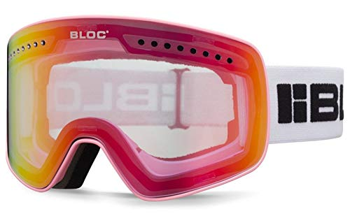 Bloc Fifty Five G553 Masque de Ski magnétique 2 Verres interchangeables Rose Mat