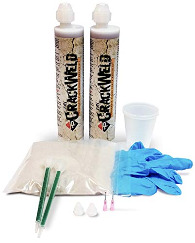 RadonSeal CrackWeld DIY Concrete Crack Repair Kit (2-Pack) - Permanently Repairs Cracks in Basements, Driveways, Garages, Patios, & Pool Decks. 2-Component Urethane Concrete Crack Filler Kit.