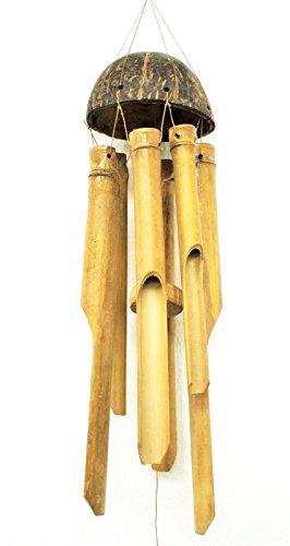 Wohnkult Klangspiel Windspiel aus Bambus und Kokosnuss 60-65 cm 6 Klangkörper
