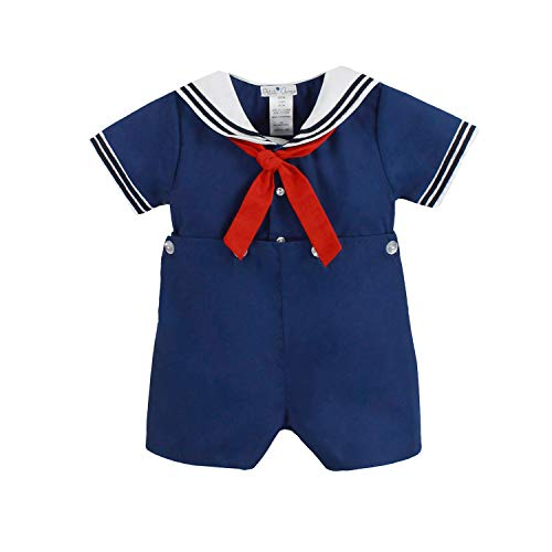 Petit Ami Baby Boys' 2 Piece Nautical Bobby Suit with Collar, 4T, Blue
