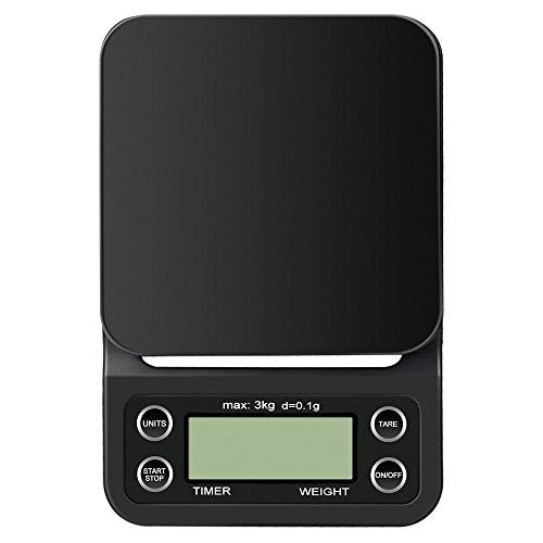 Anpress Digital-Kaffee-Skala mit Timer, Multifunktion Tragbare 6.6lb / 3000g Elektrische Schmuckskalen Lebensmittelwaage mit LCD Display (Batterien Nicht Enthalten)