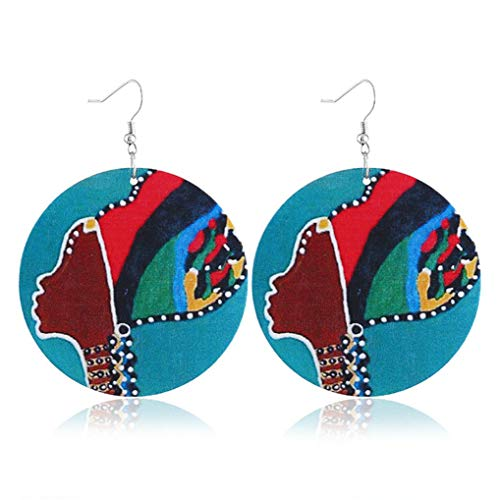 Timesuper Ethnic Style African Women Dangle Earring Round Wooden Painted Earring,blue