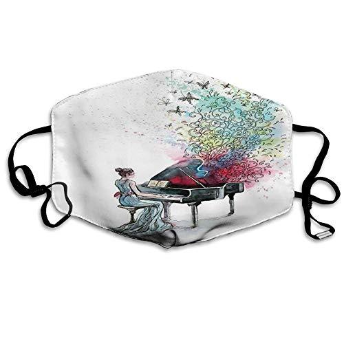 Bequeme Winddichte Maske, Musik, Flügelmusiker Musiker mit Schmetterlingen Zierpianist wirbelt Vintage-Stil, Mehrfarbig