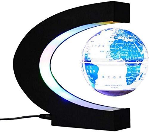 Mapa del mundo giratorio, lámpara de escritorio globo flotante ovalado de levitación magnética, globo giratorio con luz LED para la decoración de oficina en casa
