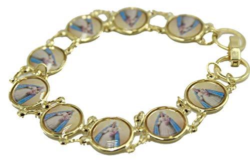 Diamantados of Florida Caridad del Cobre Pulsera de Medalla Redonda de Yoruba chapada en Oro de 18 Quilates, 19 cm
