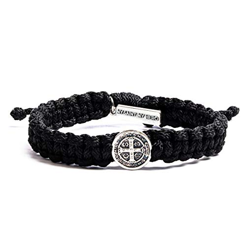 My Saint My Hero Men's One Blessing Bracelet - Handwoven, Black thread with silver Benedictine medal of Protection