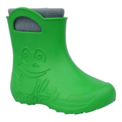 Gallux Eva Frog niedrige Kinder Gummistiefel grün mit Stiefelsocken