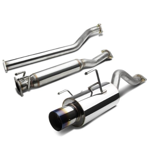 4 Inches Burnt Muffler Tip Catback Exhaust System Compatible with Acura RSX Base Model 02-06, Stainless Steel