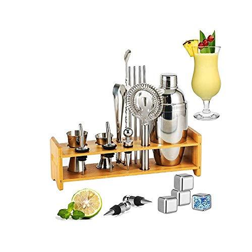 XUERUIGANG Ocktail Shaker Set Bartender Kit, mezclador de martini de acero inoxidable de 550 ml, Muddler, cuchara de mezcla, Jigger, 2 verters de licor, con soporte de madera, herramientas de bartendi
