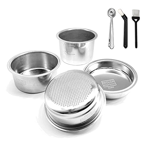 51mm Stainless Steel Filter Basket 1/2/4 Cup for Espresso Bottomless Portafilter,compatible with Delonghi,Breville 51mm Coffee Machine.Gift: Blind Filter and Scoop Clip.