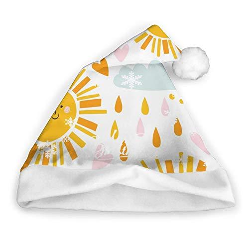 Pillow Socks Lindo Sombrero De Pap Noel con Nubes De Sol Y Gotas De Lluvia para Nios Y Adultos, Sombreros De Navidad, Gorra Divertida Y Novedosa para La Fiesta Festiva De Ao Nuevo
