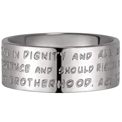 GILARDY GHR-R4WH19 Human Rights Ring R4 Edelstahl Gravur Menschenrechte (White/Silver, 60 (19.1))