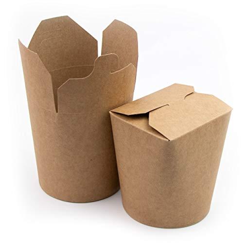 50 Cajas de cartón Caja de pasta para fideos Platos cocinados en pasta Platos asiáticos y orientales Comida para llevar (480ml)