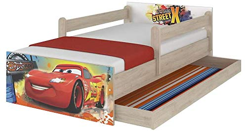 Lettino originale Disney con protezione anti-caduta, cassetto e materasso (90 x 180 cm, Cars)