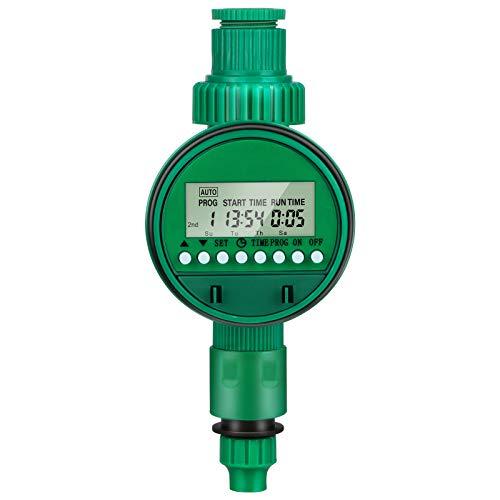Ordenador de riego, reloj de riego Opamoo con temporizador automático de agua programable, pantalla LED, resistente al agua, para jardín, invernadero, agricultura (16 programas)