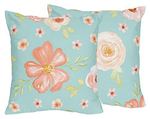 Sweet Jojo Designs Turquoise and Peach Decorative Accent Throw Pillows for Watercolor Floral Collection - Set of 2 - Pink Rose Flower