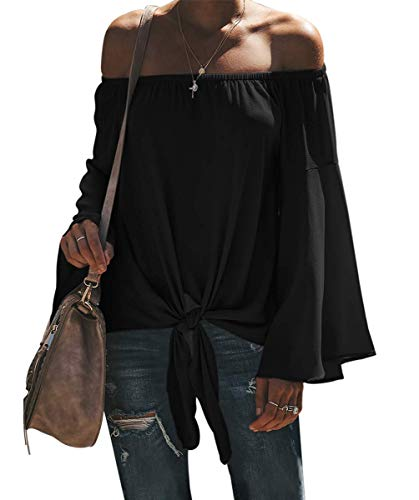 Womens Off The Shoulder Strapless Blouses Party Long Sleeve Summer Tee Tops Black L