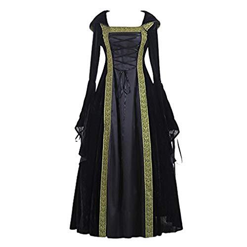 WoWer 💋Damen Mode Langarm Mit Kapuze Mittelalterliches Kleid Bodenlangen Cosplay Mittelalter Retro-Stil Tunika Vintage Gothic Cosplay Kleid
