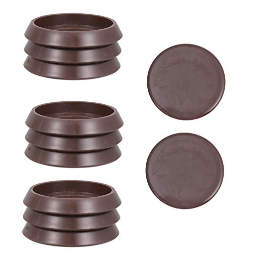 Yardwe Coasters Cups| Rubber Round Furniture Cups, 10Pcs Anti- Sliding Caster Stopper for Carpet or Durable Hard Floors- Coffee