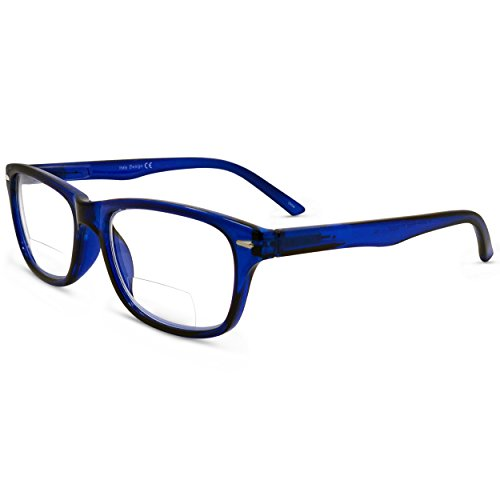 In Style Eyes Seymore Classic Retro Bifocal Reading Glasses Blue, 2.0x