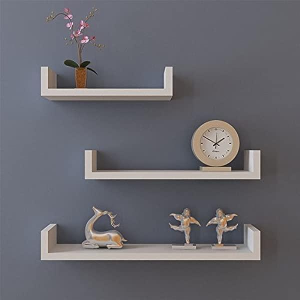 UPMIK Floating Wall Shelves Set Of 3 Display Shelf U Shape Storage US Stock White