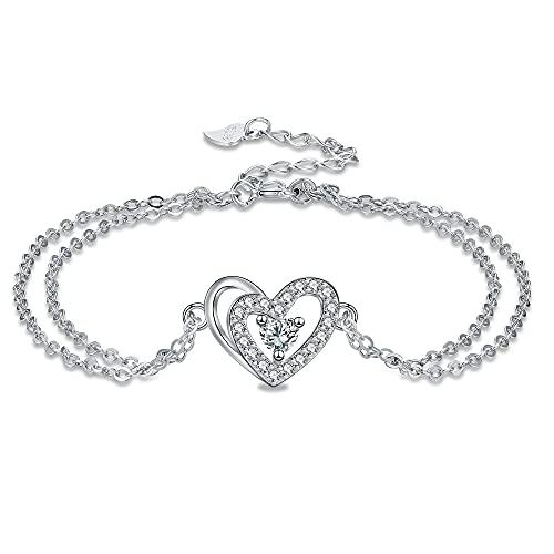 Arrebol Pulsera Corazón para Mujer Plata de Ley 925 con Amor Circonita Cúbica, Pulsera de Corazon Ajustable (16 + 4cm) Regalo para Mujeres Niñas