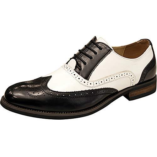 wealsex Homme Brogues Bicolore PU Cuir Bout Pointu Chaussures de Ville à Lacets Oxford Vintage Mariage Dressing (Noir,42)