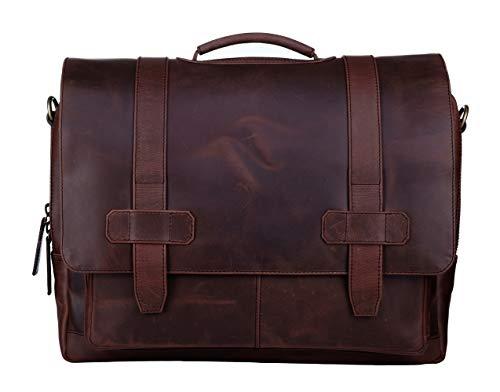 Ladderback Leather Messenger Bag for Men, Logan, Leather Briefcase, Chestnut
