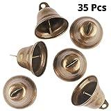 BELLE VOUS Clochettes Vintage (35 Pcs) - 3.8x3.5cm Cloche Vintage Bronze Grelot pour Porte, Chien, Dressage, Carillon - Clochette Décoration Noel et Fêtes - Clochette Grelot