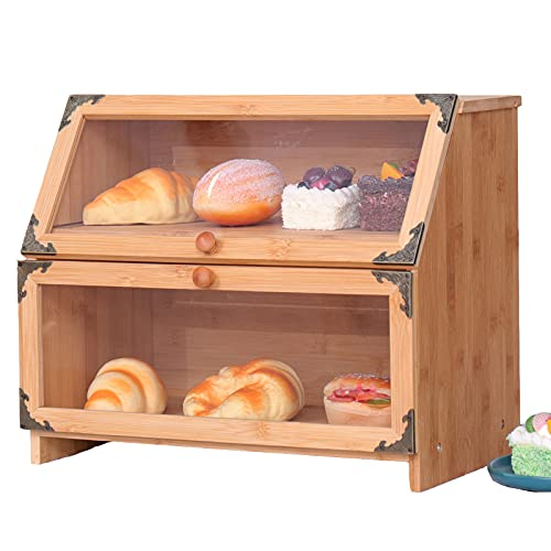 Large Double Layer Bamboo Bread Box,Natural Bread Storage box for Kitchen Countertop,Farmhouse Bread Storage Holder Basket with Clear Window and Adjustable Shelf.