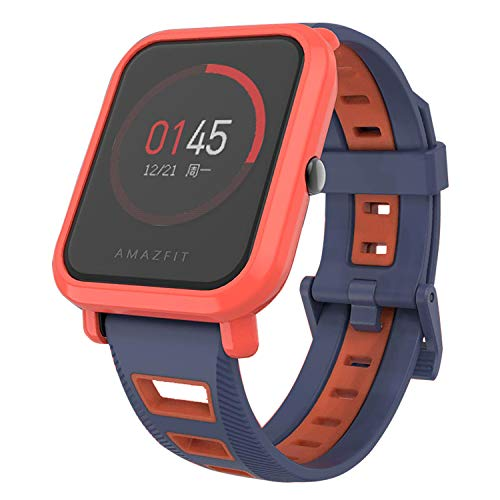 SenMore Correa para Xiaomi Amazfit Bip Younth - 20mm Silicona Pulsera Impermeable Correas de Repuesto para Galaxy Watch 42mm, Gear S2 Classic, Huawei Watch 2, Huami Amazfit Bip (20MM, 1PCS BlueOrange)