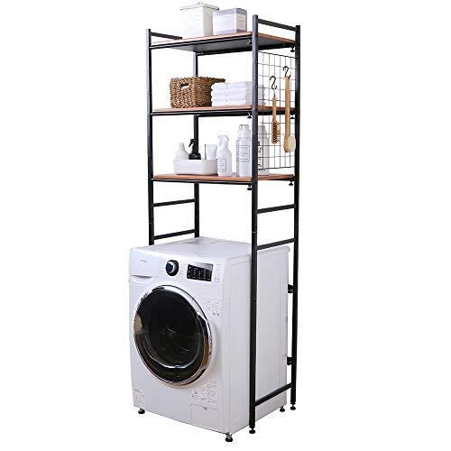 アイリスプラザ ランドリーラック 伸縮 ブラック 幅約65.5~92.5(65~92㎝の洗濯機に対応) LRP-301