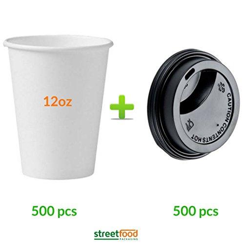 Gobelets en Carton Jetables Blancs de 340 ml pour Café Capuccino et Moka à Emporter avec Couvercles Aspirants Noirs (500 Gobelets et 500 Couvercles)