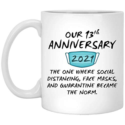 Happy 13Th Anniversary Mug Quarantine Couple Spouse For Him Her Husband...