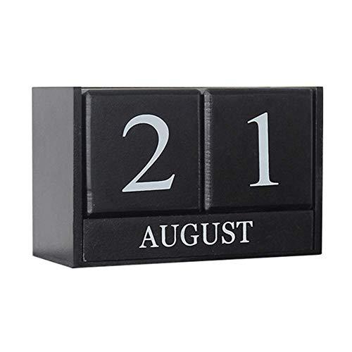 2021 Desk Calendar -Obling Perpetual Calendar Desk 2021 Wooden Block Calendar Office and Home Desktop Decoration Black