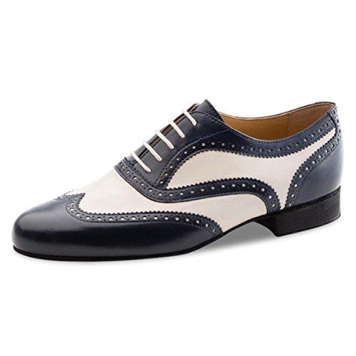 Nueva Epoca – Zapatillas de baile para hombre Tango/Salsa Lima – piel azul/crema, Hombre, Lima, Azul y crema., UK 8.5 | EUR 43 1/3