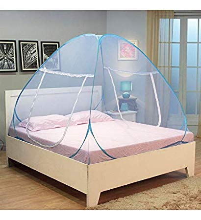 ROYALE HI DESIGN Double Bed Foldable Mosquito Net with Saviours, (King Size, White)
