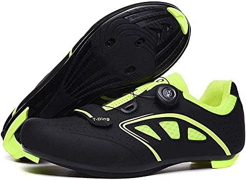 KUXUAN Zapatillas de Bicicleta de Carretera para Hombre Zapatillas de Ciclismo Transpirables Antideslizantes, Zapatillas Deportivas de Triatlón con Autobloqueo,Black-3.5UK=(230mm)=36EU