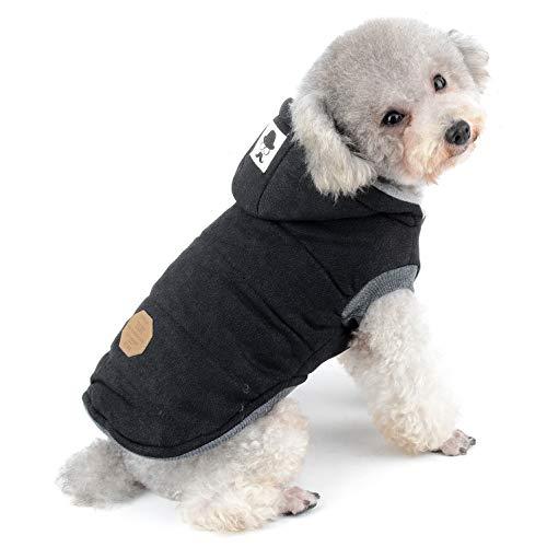 SELMAI Winterjacken & wintermäntel für Hunde kleine Kapuzenpullis Hundemantel Winter Haustierkleidung für Katzen hündchen dackel Chihuahua Gehen im Freien Kältebeständig Schwarz M