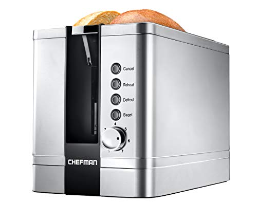 Chefman 2 Slice Toaster with Extra Wide Slots for Bagels Waffles, Bread, Tart, Hamburger Bun or English Muffins | Pop-Up 7 Shade Settings 850 Watts 120V, Stainless Steel