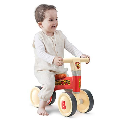ROBUD Kinder Laufrad für 1-2 Jahr | Lauflernrad für Baby | Balance Fahrrad ohne Pedale Dreirad Spielzeug (Red)
